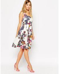 ASOS - Multicolor Cream Floral Debutante Midi Dress - Lyst