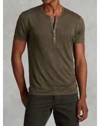 John Varvatos | Green Jersey Trim Short Sleeve Henley for Men | Lyst