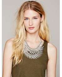 Free People - Metallic Crescent Crystal Collar - Lyst