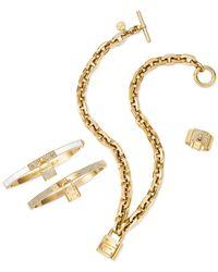 Michael Kors - Metallic Gold-Tone Padlock Charm Bracelet - Lyst