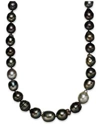 Macy's | Metallic Sterling Silver Necklace, Multi Colored Cultured Tahitian Pearl (9-11mm) Baroque Strand Necklace | Lyst