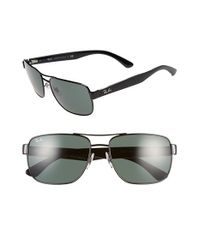 Ray-Ban | Black 58mm Steel Aviator Sunglasses | Lyst