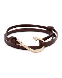Miansai | Brown Triple Wrap Leather Hook Bracelet for Men | Lyst
