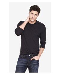 Express - Black Twisted Slub Long Sleeve Pocket Tee for Men - Lyst