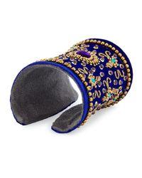Chamak by Priya Kakkar - Blue Velvet Floral Beaded Cuff Bracelet - Lyst