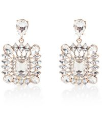 River Island - White Gold Tone Square Crystal Statement Earrings - Lyst