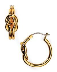 Lauren by Ralph Lauren - Metallic Il Pellicano Front Knot Hoop Earrings - Lyst
