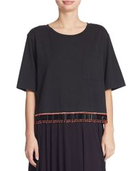 DKNY - Black Fringed Crop Top - Lyst