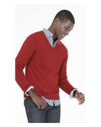 Express | Red Merino Wool V-neck Sweater for Men | Lyst