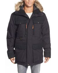 Fjallraven - Black 'polar Guide' Waterproof Hooded Parka With Faux-fur Trim for Men - Lyst