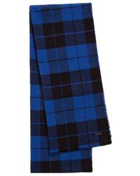 HUGO | Blue 'men-z 444' | Cotton Plaid Scarf for Men | Lyst