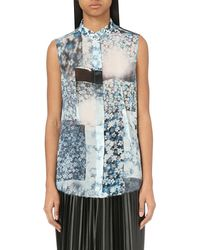 MM6 by Maison Martin Margiela | Blue Floral-print Georgette Shirt | Lyst
