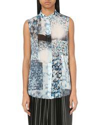MM6 by Maison Martin Margiela - Blue Floral-print Georgette Shirt - Lyst