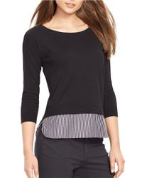 Lauren by Ralph Lauren | Black Petite Mock Layered Crewneck Sweater | Lyst