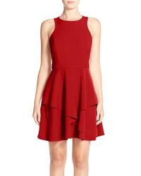 Adelyn Rae | Red Gabardine Fit & Flare Dress | Lyst