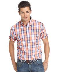Izod | Pink Short-Sleeve Multi-Plaid Shirt for Men | Lyst