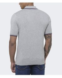 Stussy - Gray Tipped Knit Polo Shirt for Men - Lyst