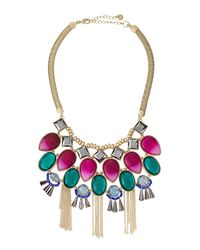 Lydell NYC | Golden Multicolor Bead Bib Necklace | Lyst