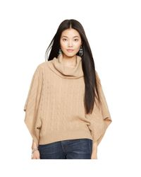 Polo Ralph Lauren | Natural Cable-knit Wool-blend Poncho | Lyst