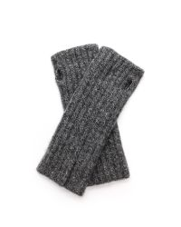 White + Warren - Black White  Warren Cashmere Rib Hand Warmers - Nickel Grey - Lyst