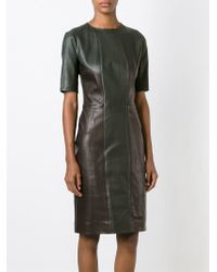Yves Salomon - Green Panelled Fitted Dress - Lyst
