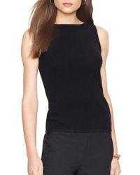 Ralph Lauren | Black Lauren Wool-blend Sleeveless Sweater | Lyst