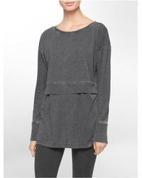 Calvin Klein - Gray White Label Performance Distressed Wash Double Layer Top - Lyst