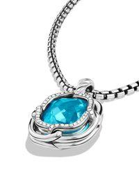 David Yurman - Metallic Labyrinth Small Pendant With Blue Topaz - Lyst