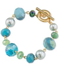 Carolee - Metallic Gold-tone Crystal And Bead Bracelet - Lyst
