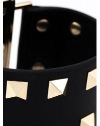Valentino - Black 'Rockstud' Cuff - Lyst