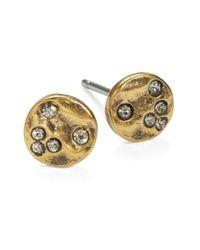 Lauren by Ralph Lauren | Metallic Hammered Disk Stud Earrings | Lyst