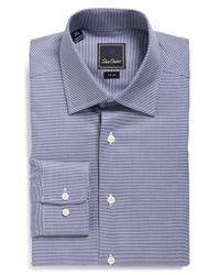 David Donahue | Blue Trim Fit Houndstooth Dress Shirt for Men | Lyst