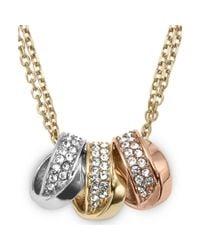 Michael Kors - Metallic Tritone Crystal Pave Threering Pendant Necklace - Lyst