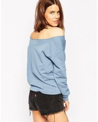 ASOS | Blue The Off Shoulder Sweatshirt In Cotton | Lyst