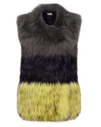Yves Salomon | Yellow Trio Colour Fur Waistcoat | Lyst