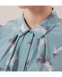 Hobbs - Green Feather Print Top - Lyst