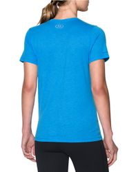 Under Armour | Blue Women's Ua Charged Cotton Tri-blend Logo V-neck | Lyst