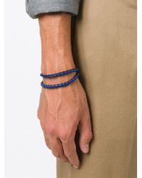 Tod's - Blue Braided Double Strap Bracelet for Men - Lyst