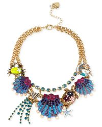 Betsey Johnson | Multicolor Gold-tone Seashell Frontal Necklace | Lyst
