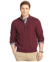 Izod - Red Quarter-zip Cable Sweater for Men - Lyst