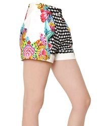 Manish Arora | White Printed Peached Cotton Shorts | Lyst