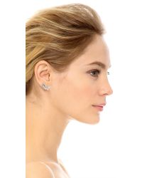 Kenneth Jay Lane | Metallic Headdress Climber Earrings - Silver/clear | Lyst