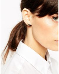 ASOS - Black Tube Stud Earrings - Lyst