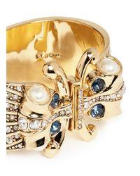 St. John | Metallic Crystal Faux Pearl Hinge Cuff | Lyst
