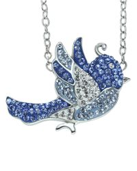Lord & Taylor | Blue Sterling Silver And Crystal Bird Pendant Necklace | Lyst