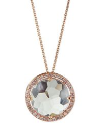 Suzanne Kalan - Pink 14K Rose Gold White Topaz & Pave Sapphire Necklace - Lyst