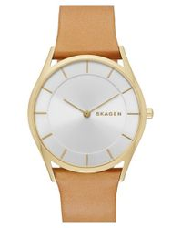 Skagen | Metallic 'holst' Leather Strap Watch | Lyst