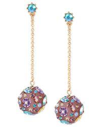 Betsey Johnson - Blue Gold-tone Multi-stone Flower Orb Linear Drop Earrings - Lyst