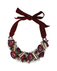 Kenneth Cole | Red New York Beaded Adjustable Tie Statement Necklace | Lyst