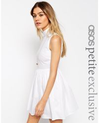 ASOS | White Petite Exclusive Cotton Skater Dress With High Neck And Button Back | Lyst